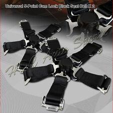 2 X Universal JDM 5-Point Cam Lock Black Nylon Safety Harness Racing Seat Belt