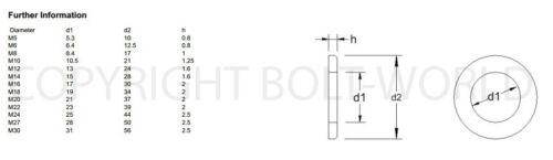 M12//12mm forma B brillante Cinc Plateado Arandelas Planas BPZ BS43200 para tornillos métricos