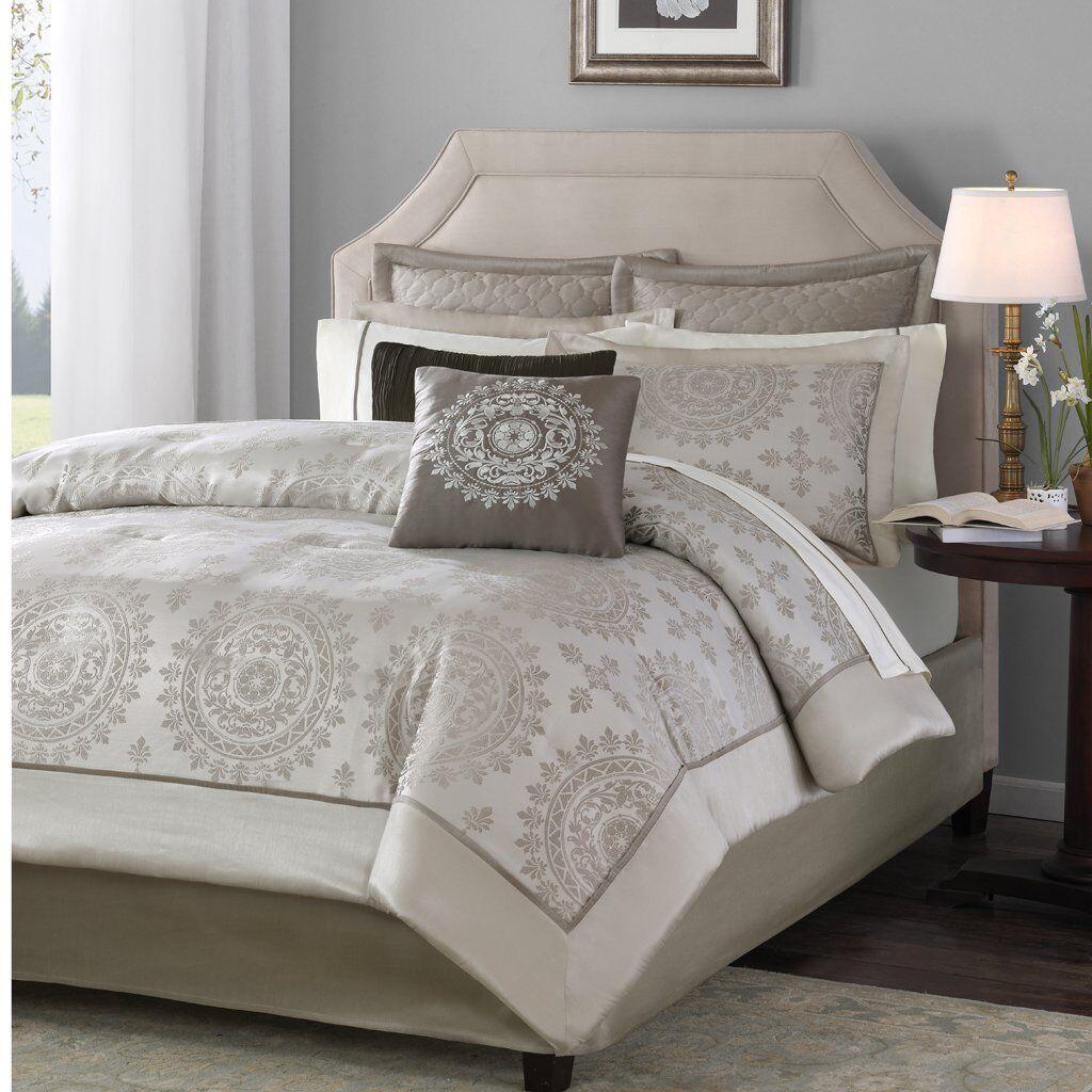 Madison Park Tiburon Comforter Jacquard 12 Piece King Bed Tan Sheets Shams New