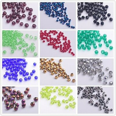 (32 Facets) 100/500pcs 3mm Round Glass Crystal Charm Findings Loose Spacer Beads