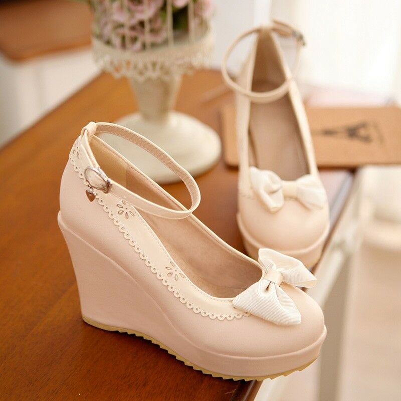 New Womens Sweet Bowknot Ankle Strap Round Toe Wedge High Heels Sandals