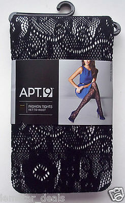 Apt 9 Net To Waist Fashion Tights Black Floral Pattern NWT