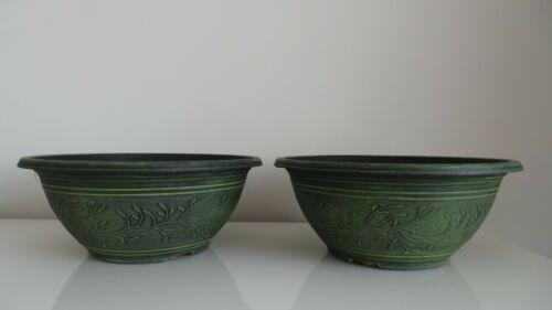 """Lot de deux Linden Bol 12/"""" en Plastique Planters motif et couleur Pots Patio"""
