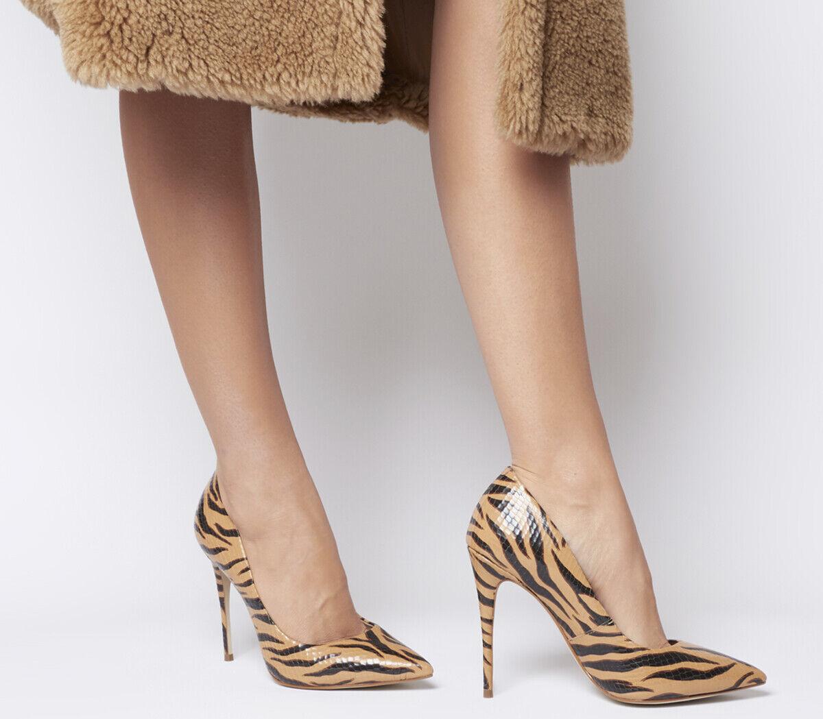 Mujer Zapatos De Tacón Oficina Oficina Oficina HighBeam Tribunal en Punta Tacones de Tigre De Cuero  ofrecemos varias marcas famosas