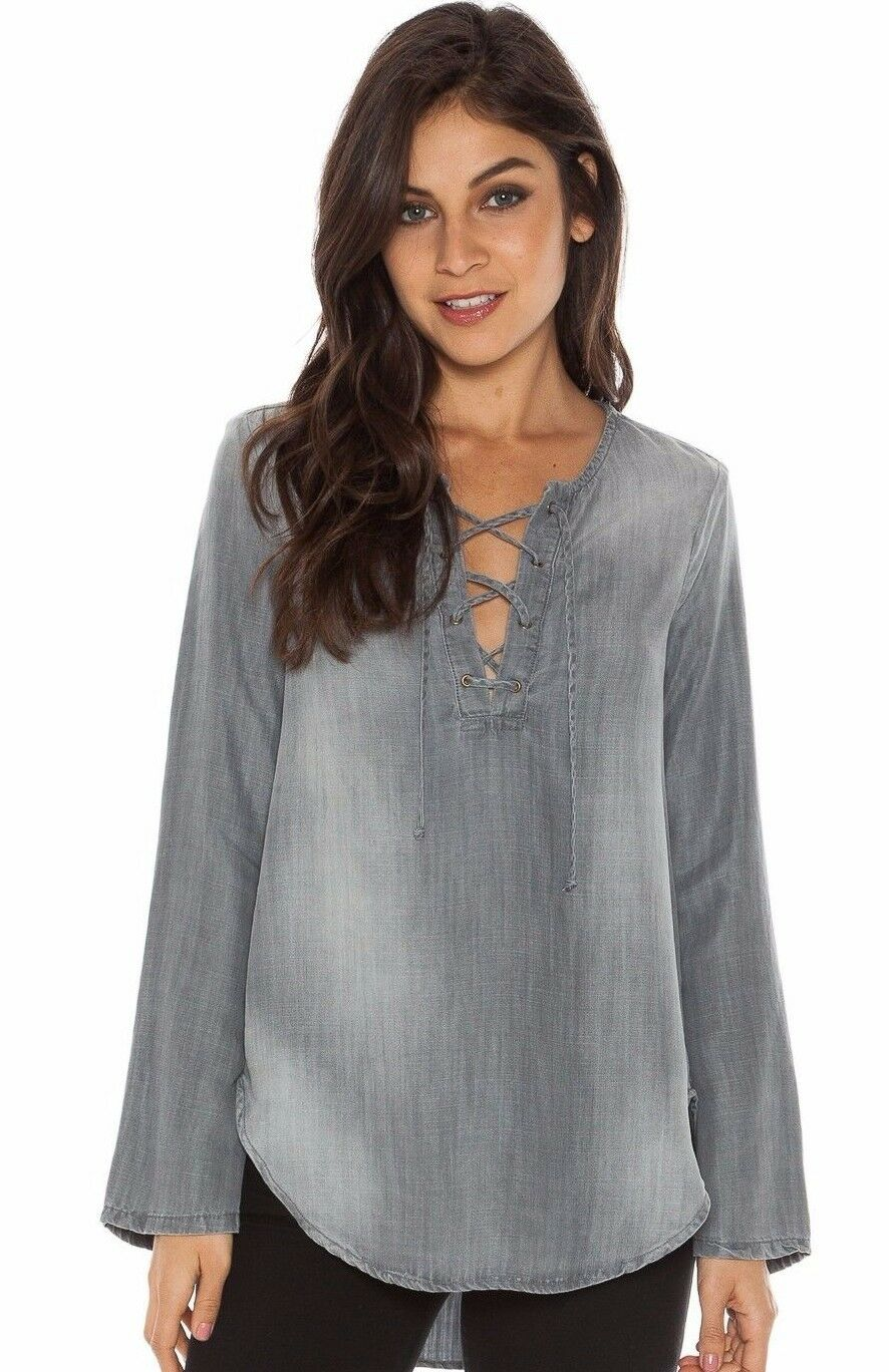 NEW CLOTH & STONE Damen SzS BELL SLEEVE LACE UP TOP BLOUSE grau STIRLING WASH