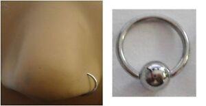 Surgical Steel Silver Nose Hoop Captive Ring 20 gauge 20g 10mm diameter