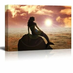 """Canvas Prints Wall Art - A Mermaid Sitting on the Rock During Sunset - 16"""" x 24"""""""