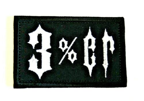 3/%er Patch Embroidered Hook Backed Three Percent/'er Custom Options Badge