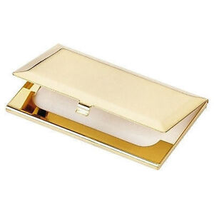 Gold Plated Brass Business Card Holder Boxed - Ideal for Engraving