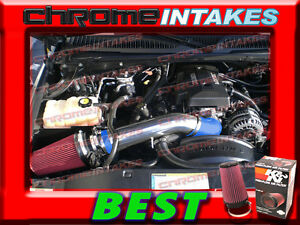 99 00 01 02-07 CHEVY GMC CADILLAC TRUCKS SUVS COLD BLK AIR INTAKE KIT+K/&N Red
