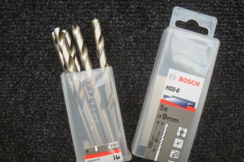 PACK OF 5 X BOSCH   9MM  HSS-G JOBBER METAL DRILL BITS 2 608 595 075