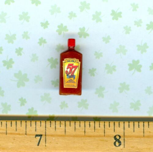 Dollhouse Miniature Size 57 BBQ and Steak Sauce Bottle