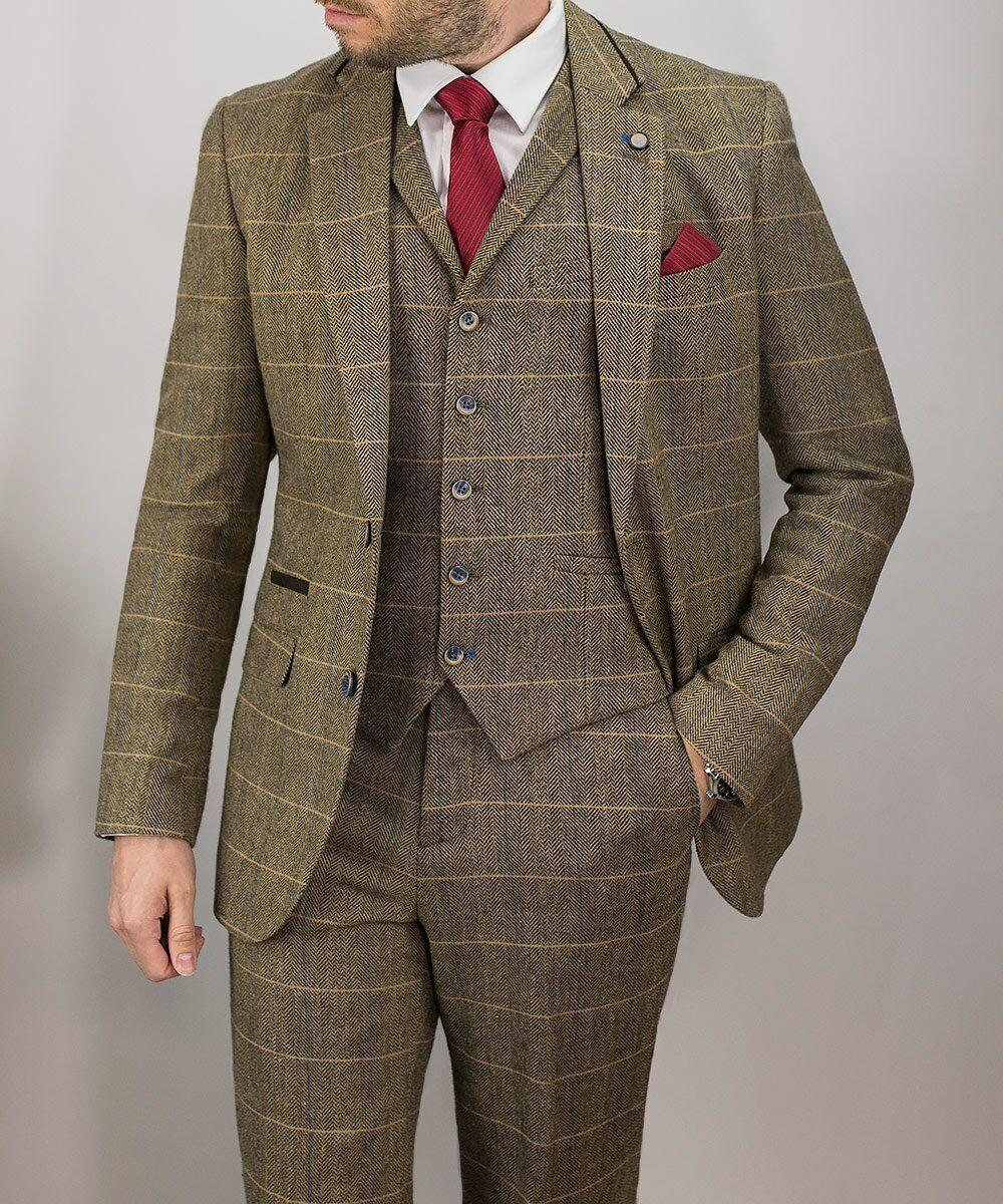 Herren Cavani Tweed 3 Piece Suit Wool Blazer Waistcoat Trousers Short Regular Long