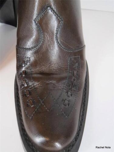 Tacchi Punta Via cowboy marrone a in Spiga Misura da 6 Scivoli pelle Stivali punta Italia Mules 5 vwFTqEpHw