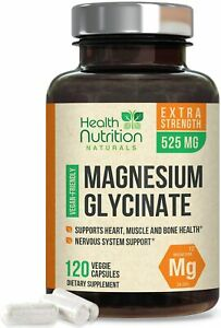 Magnesium Glycinate Capsules 525mg High Absorption Chelated by Health Nutrition