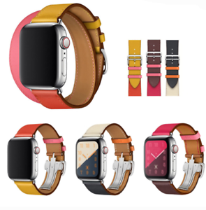 Leather-Watch-Band-Belt-Single-Double-Tour-for-Apple-Watch-Series-4-3-2-1