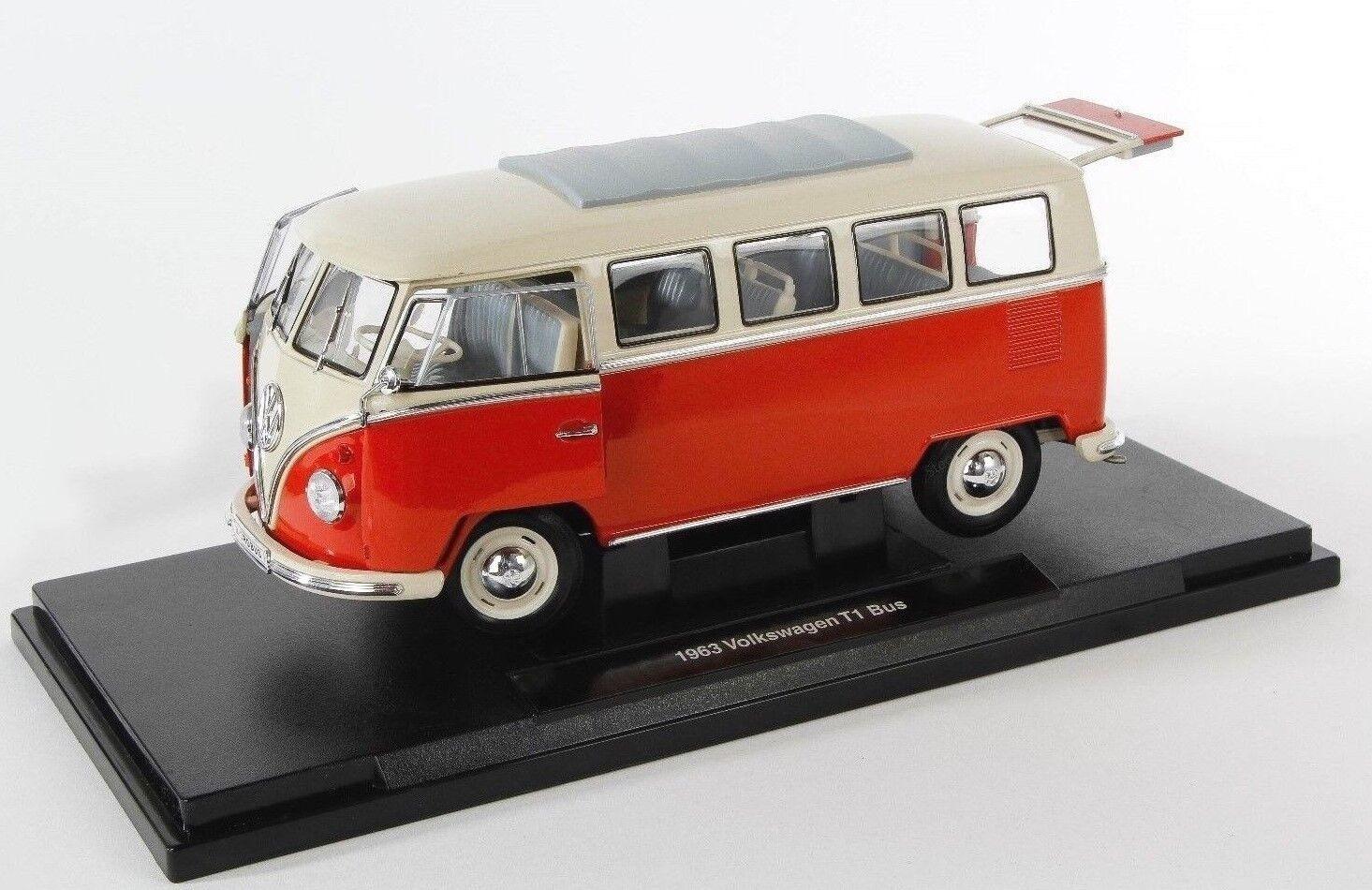 BLITZ VERSAND Volkswagen VW T1 Bus 1963 red-creme Welly Modell Auto 1 18 NEU OVP