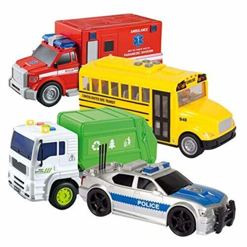 JOYIN 4 PC Friction Powered City Play Vehicle Toy Set Including Police Car Scho