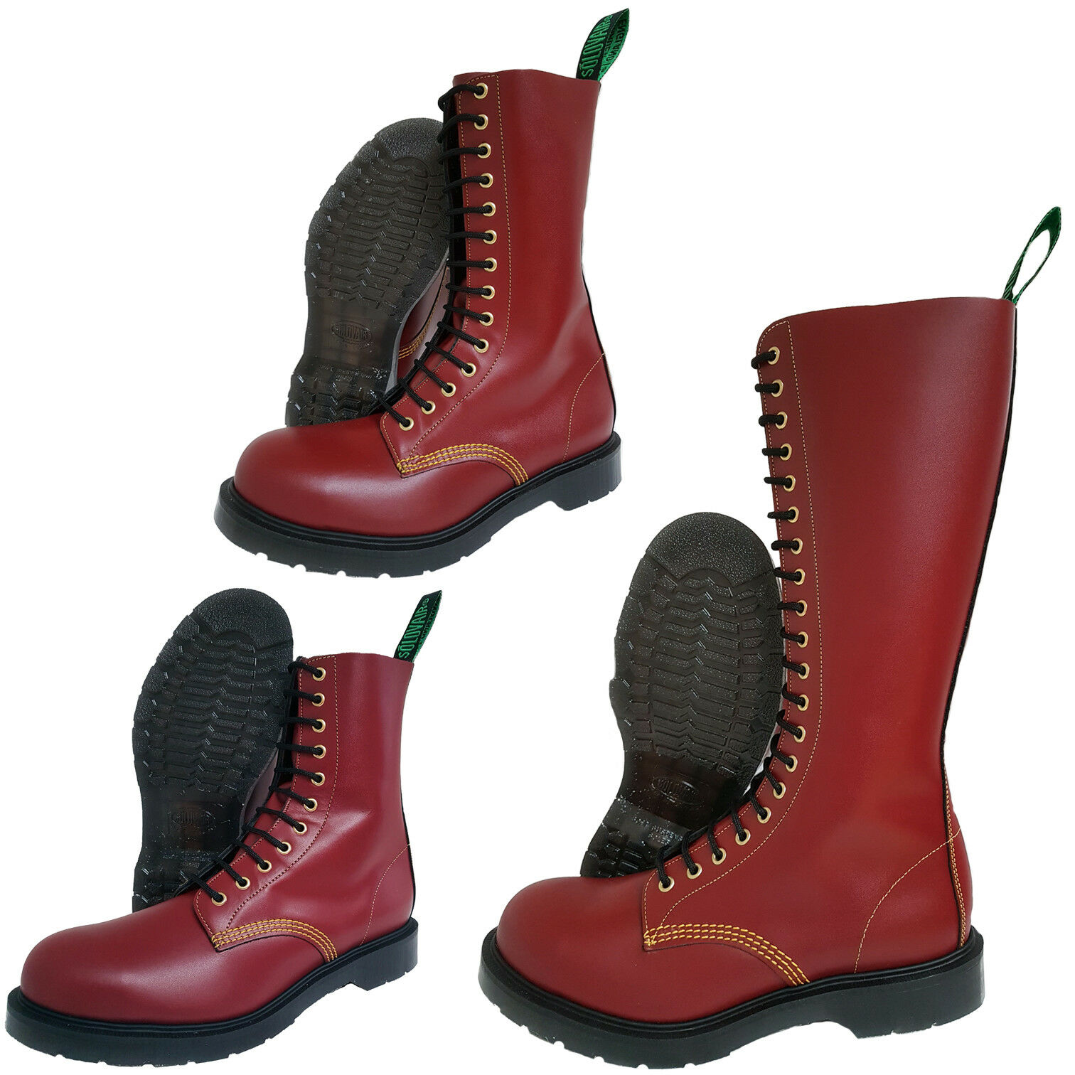 Solovair NPS Southerner made en Inglaterra Cherry rojo Steel Toe botas punk skinhead