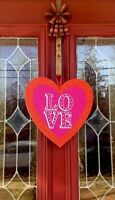 Valentines Day Double Heart Love Door Wreath Hanging Swag Floral Wood Pick Decor