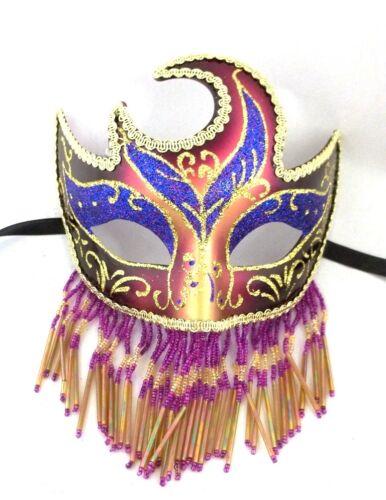 Beaded Veil Masquerade Mardi Gras Prom New Years Ball Mask White Gold Black Red