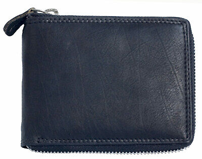 Genuine leather wallet without any logos or markings with metal zipper around