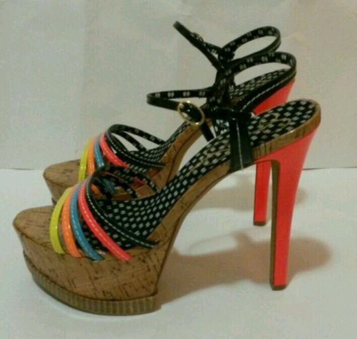 Jessica Simpson shoes, Skye Platform Sandals Florescent Multi Patent Size 9, 9.5