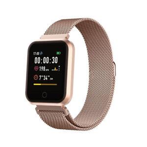 Smartwatch Bluetooth Armbanduhr Schrittzähler Pulsuhr Fitness Tracker in Rose