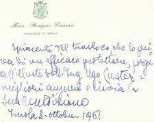 Biglietto Autografo Benigno Carrara Vescovo Imola Papa Giovanni XXIII 1961