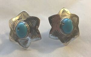 Vintage-Signed-LEX-Sterling-Silver-Turquoise-6-Point-Star-Floral-Post-Earrings