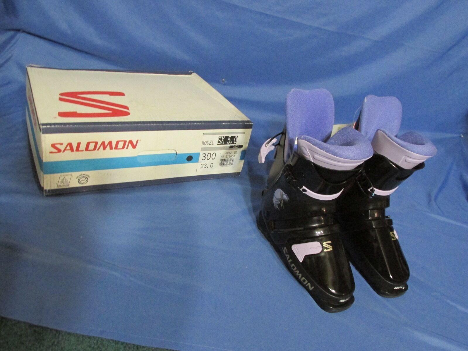 Neu Damen S Salomon SX 50 5.0 Lady Schnee Ski Stiefel Schwarz & Lila Größe 23