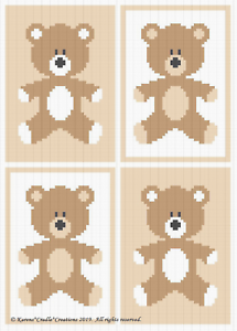 WOODLAND BABY BEARS Color Graph Afghan Pattern Crochet Patterns