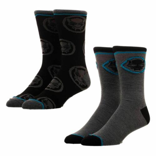MARVEL pantera nera adulto Crew Socks Set 2 PAIA-una taglia UK 6-11 AVENGERES