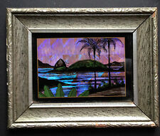 Antique Butterfly Wings Art Reverse Glass Painting Rio City Original Frame