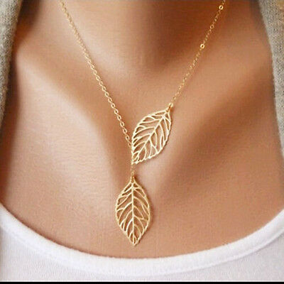 Girls Double Leaves Choker Clavicle  Collar Statement Pendant Delicate Necklace