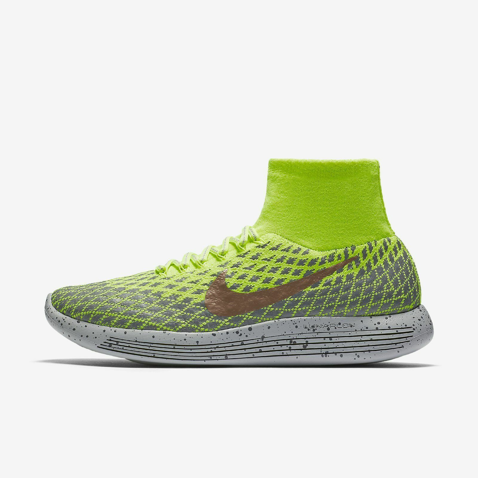 The most popular shoes for men and women Men's Nike LunarEpic Flyknit Shield Running Volt / Metallic Red Sz 9 849664 700