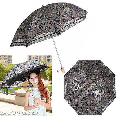 Women Lace Wedding Princess Folding Anti-UV Parasol Umbrella Sun Rain Protection