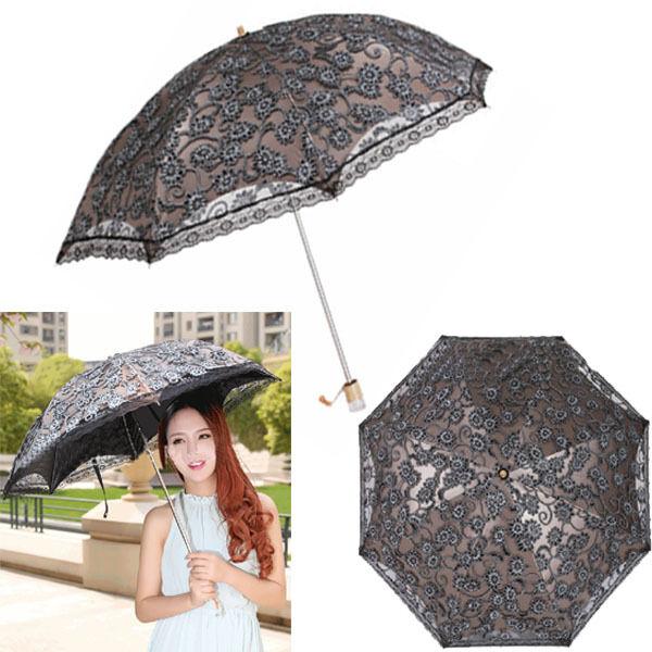 Women Lace Wedding Princess Folding Anti-UV Parasol Umbrella Sun Rain Protection