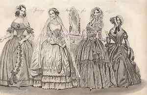 Spring-Fashion-Victorian-Wedding-Dress-Paris-Lady-1842-ANTIQUE-VINTAGE-ART-PRINT