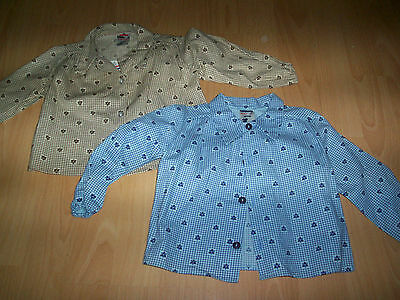 2 New Delamare Babywear Cotton Blouses Age 9-18 Months Blue & Beige To Win A High Admiration