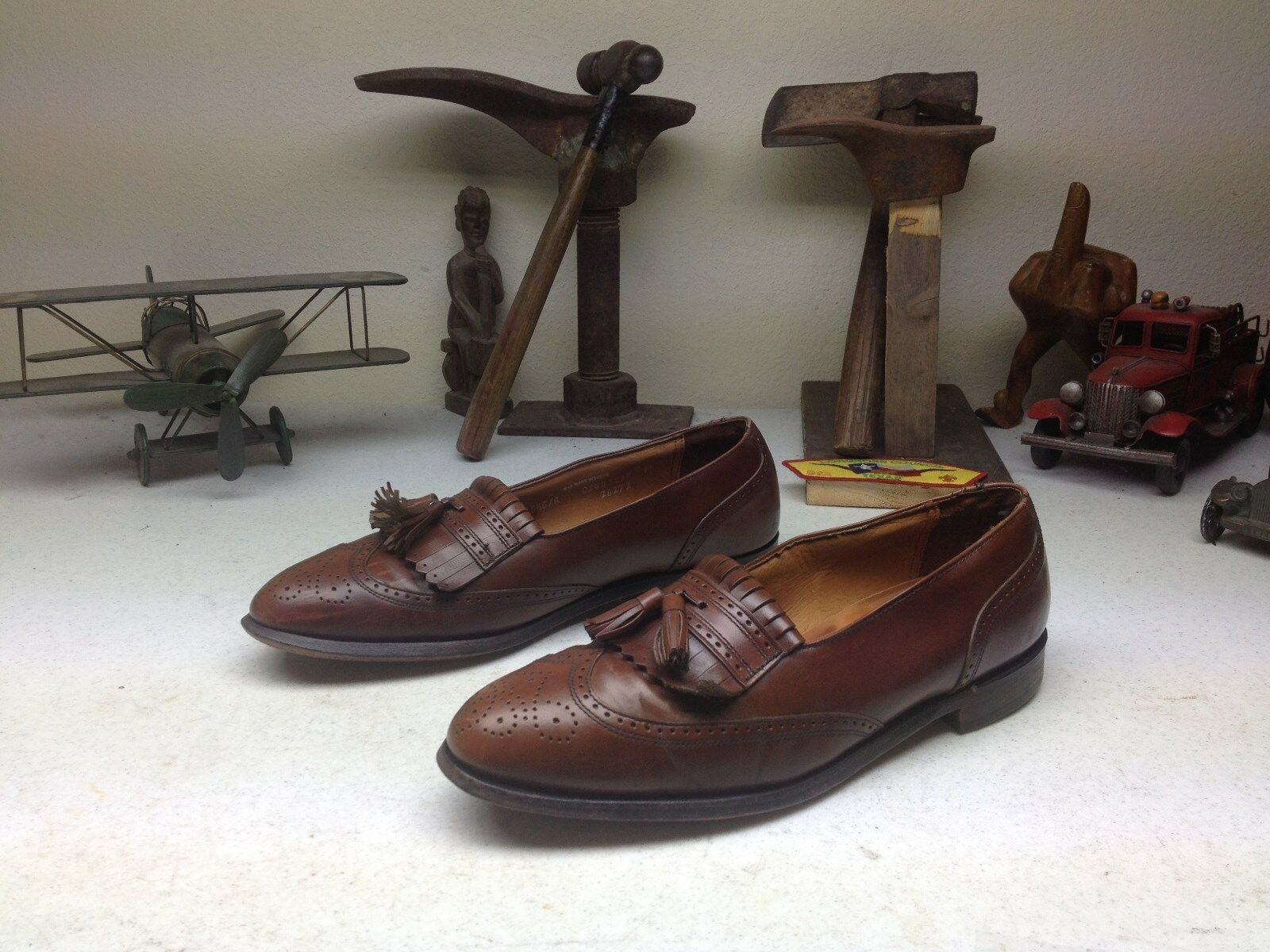 MADE IN USA BROWN BOSTONIAN LEATHER TASSLE KILTIE WING TIP LOAFER SHOES 10.5 C A