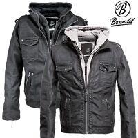 Brandit Black Rock Lederjacke Herren Leather Jacket Biker Jacke Motorradjacke PU