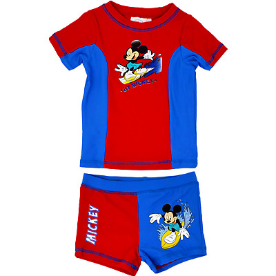 Official Mickey Mouse Boy's Swim Suit Disney Swimming Beachwear Short Shirt Set