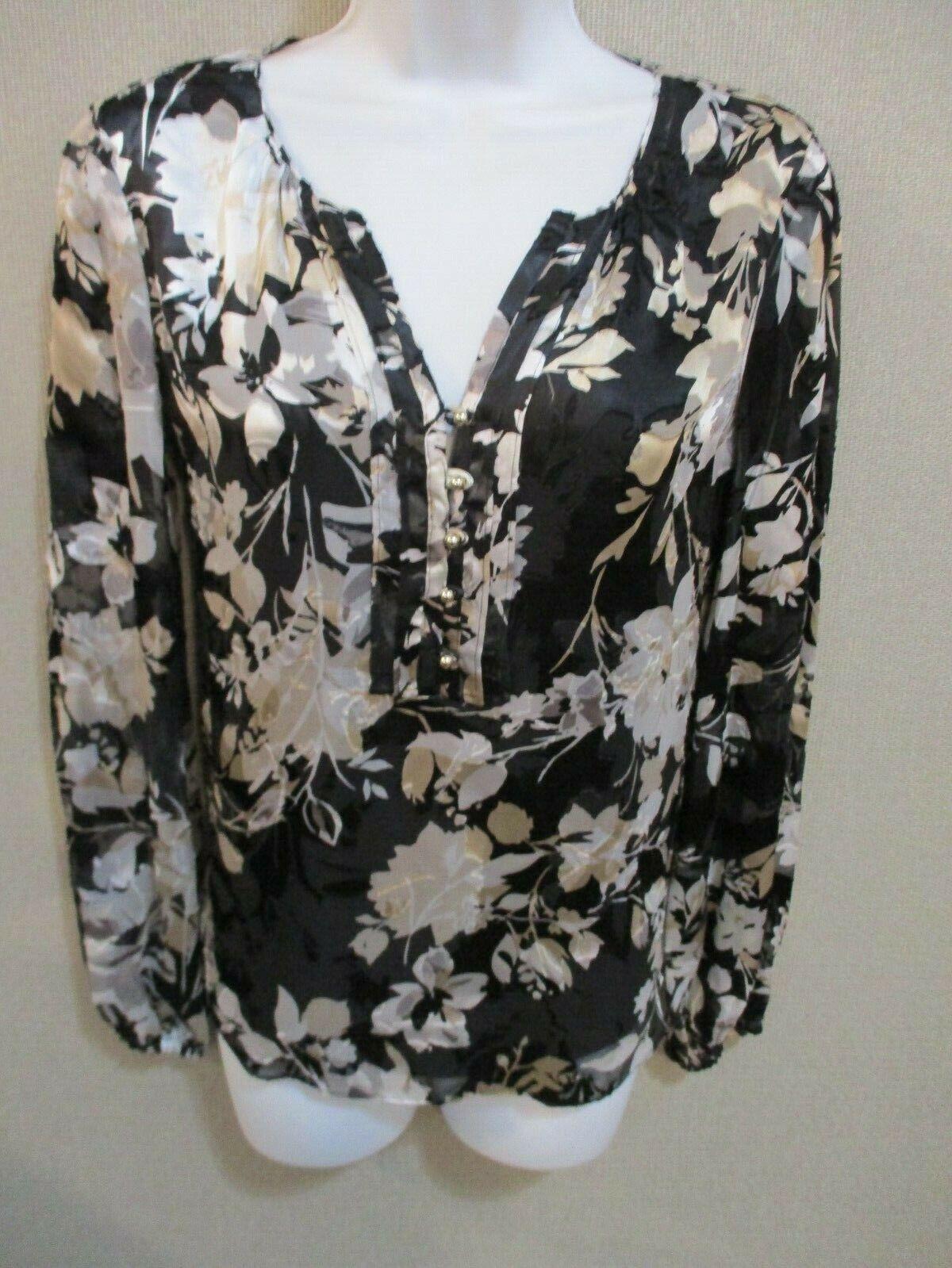 Weiß House schwarz Market Split Neck Blouse Größe 0 NWT Silk Blend  Lined