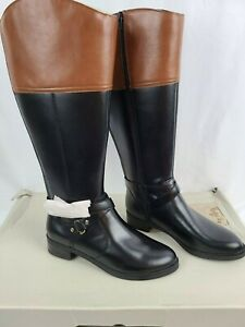 Brown Leather Tall Wide Calf Boots Size