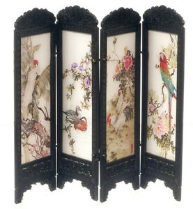 Chinese Folding Screen Birds Dolls House Miniature Room Divider 1