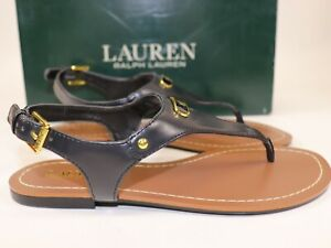 NIB-RALPH-LAUREN-Size-6-Women-039-s-Black-Smooth-Kidskin-PU-PATSI-Ankle-Strap-Sandal