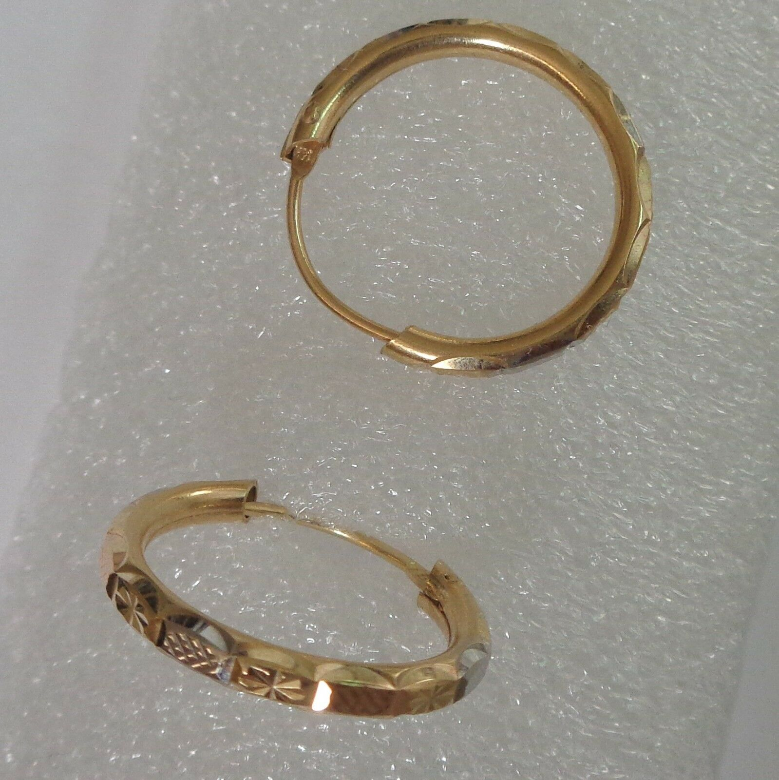14 K Hoops Solid pink Yellow and White gold 2. cm Diameter 2 mm Wide