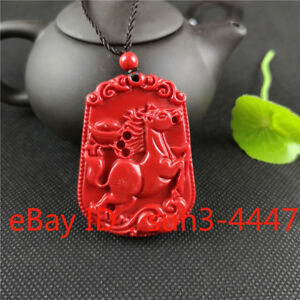 Red Organic Cinnabar Fox Pendant Necklace Fashion Charm Jewelry Lucky Amulet Hot
