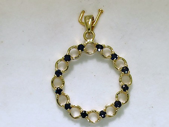 cbad84e302445 NATURAL Pendant Life of Circle SAPPHIRE gold Yellow 9ct Solid ...